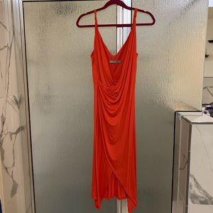 Coral 70s style faux wrap midi dress
